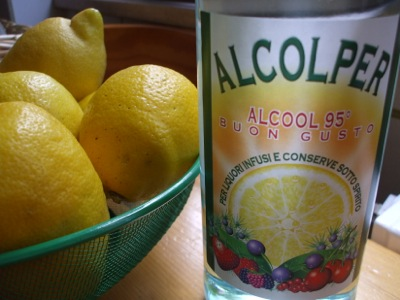 Lemons and alcohol go in - Limoncello comes out !