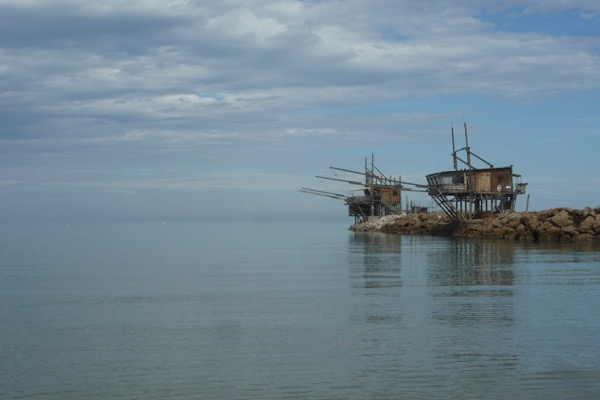 Abandoned 'trabocchi' along the sea wall of Vasto's harbour alongside the Reserve