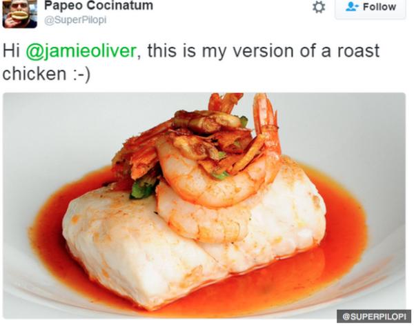 Jamie Oliver parodied on Twitter